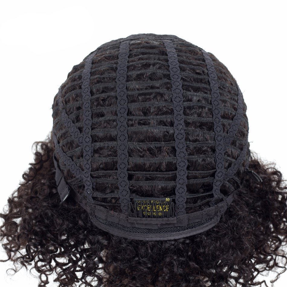 Ombre Short Kinky Curly Non-Lace Human Hair Wig