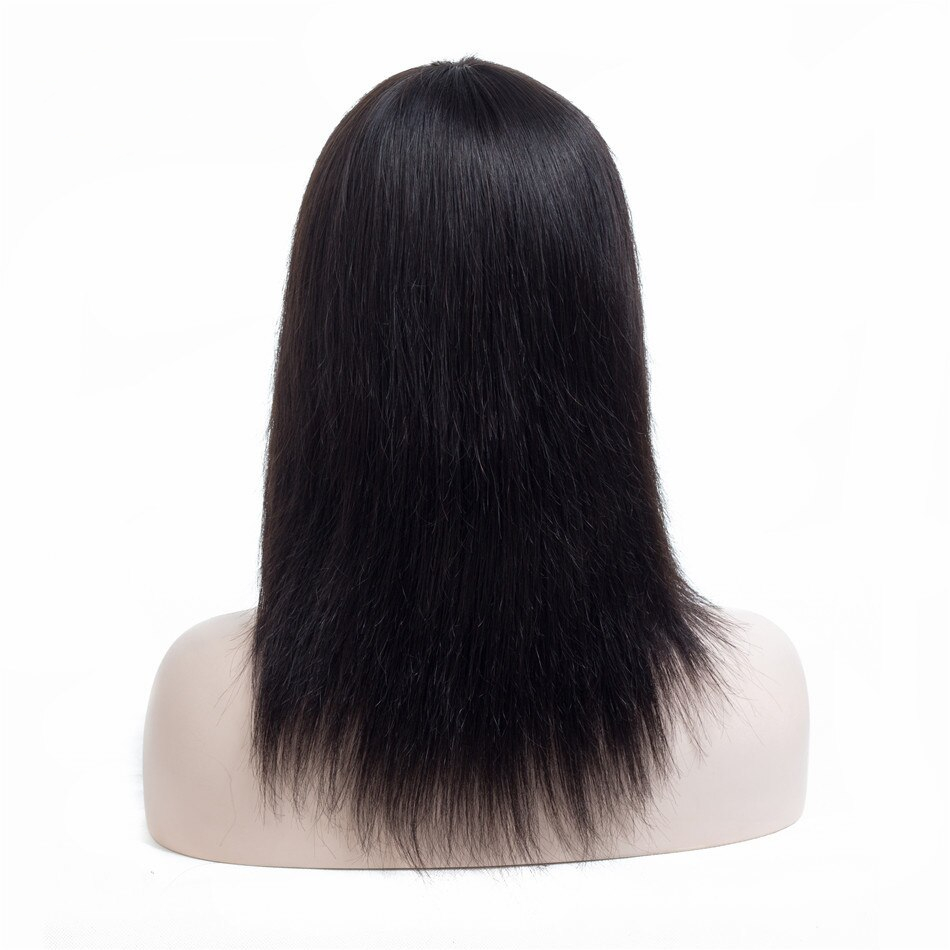 Black Straight Bangs Non-Lace Remy Human Hair Wig