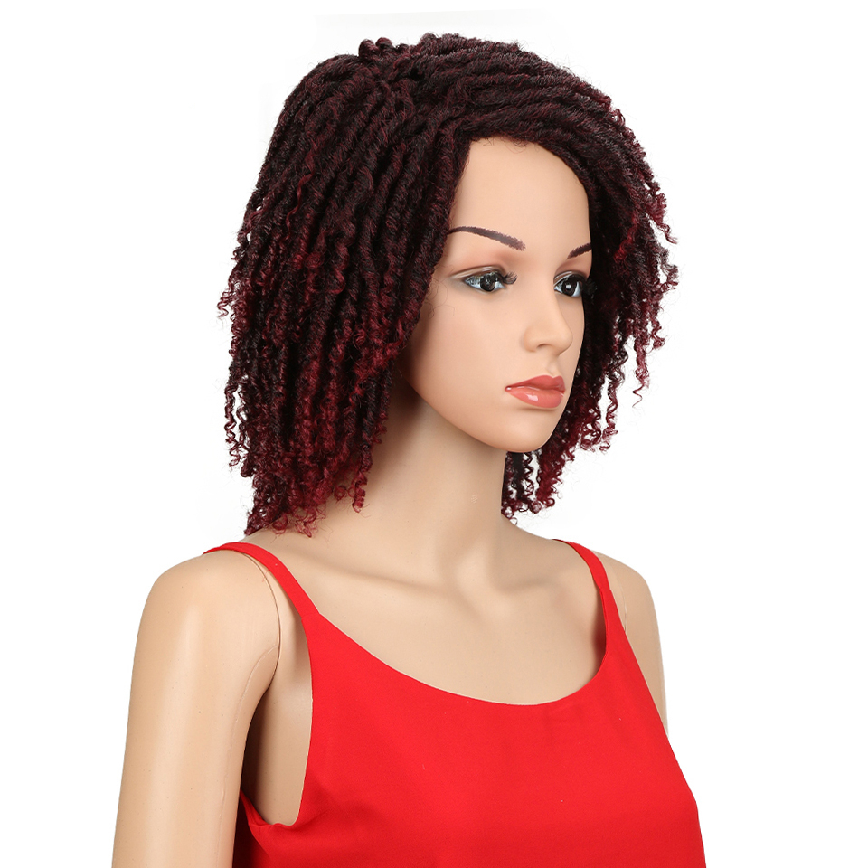 Ombre Short Kinky Curly Crochet Synthetic Hair Wig